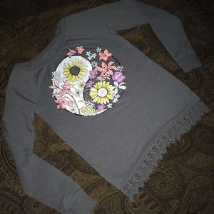 Girls Justice Grey floral long sleeve top sz 14